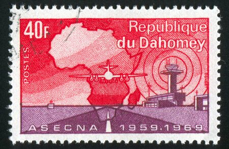 DAHOMEY - CIRCA 1969: stamp printed by Dahomey, shows Map of Africa, Plane, circa 1969 photo