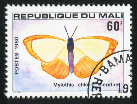 MALI - CIRCA 1980: stamp printed by Mali, shows butterfly, circa 1980 photo