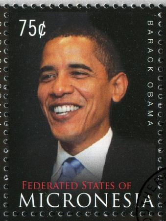 Mikronesien - CIRCA 2009: Stempel von Mikronesien gedruckt, zeigt Barack Hussein Obama, circa 2009 Standard-Bild - 11082744