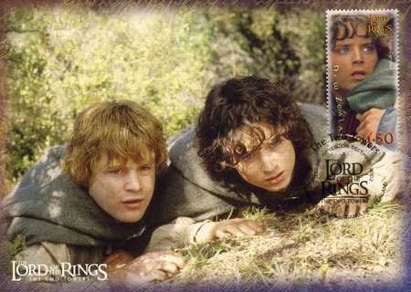 NEW ZEALAND - CIRCA 2002: stamp printed by New Zealand, shows Scenes from The Lord of the Rings, circa 2002