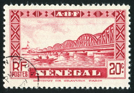 SENEGAL - CIRCA 1931: stamp printed by Senegal, shows Faidherbe Bridge, circa 1931.
