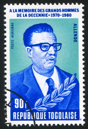 salvador allende: TOGO - CIRCA 1980: stamp printed by Togo, shows Salvador Allende, circa 1980. Stock Photo
