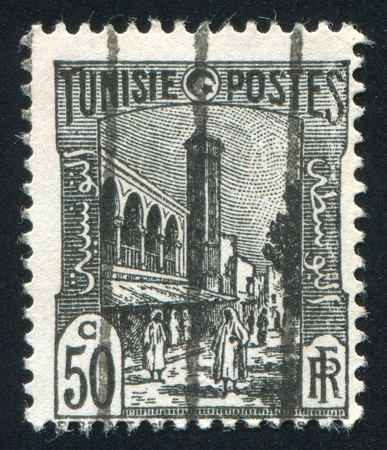 TUNISIA - CIRCA 1923: stamp printed by Tunisia, shows Mosque, Tunis, circa 1923. photo