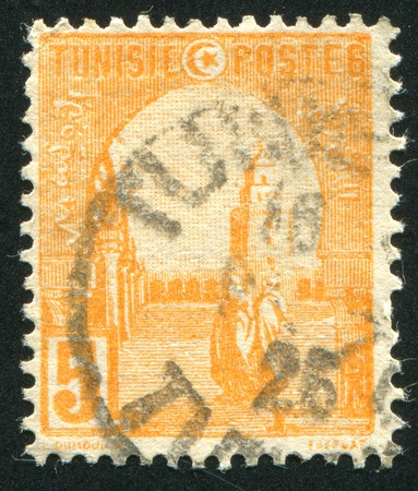 TUNISIA - CIRCA 1902: stamp printed by Tunisia, shows Mosque at Kairouan, circa 1902. photo