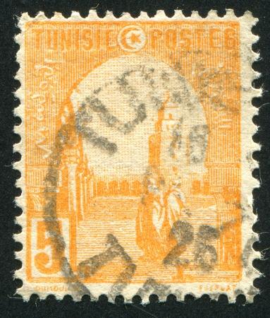 TUNISIA - CIRCA 1902: stamp printed by Tunisia, shows Mosque at Kairouan, circa 1902. photo