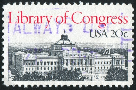 window seal: UNITED STATES - CIRCA 1982: stamp printed by United States of America, shows  Library of Congress building, circa 1982