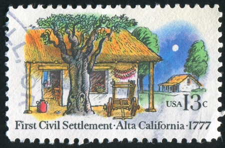 moon chair: UNITED STATES - CIRCA 1977: stamp printed by United States of America, shows farm house, circa 1977