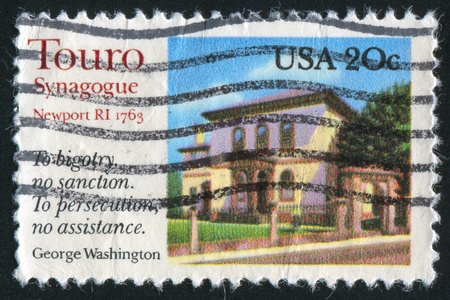 bigotry: UNITED STATES - CIRCA 1982: stamp printed by United States of America, shows Touro synagogue, circa 1982