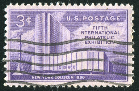 UNITED STATES - CIRCA 1956: stamp printed by United States of America, shows New York Coliseum and Columbus Monument, circa 1956 photo