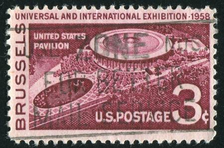 pavillion: UNITED STATES - CIRCA 1958: stamp printed by United States of America,  shows USA pavillion at Brussels, circa 1958