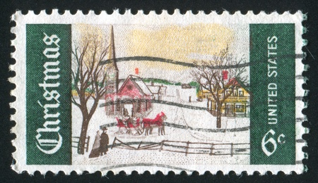 UNITED STATES - CIRCA 1969: stamp printed by United States of America, shows little town in winter, circa 1969 photo