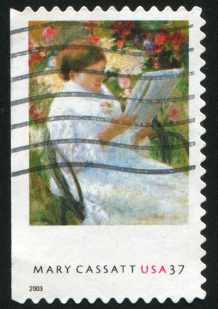 UNITED STATES - CIRCA 2003 : stamp printed by United States of America, shows picture On the balcony by Mary Cassatt, circa 2003