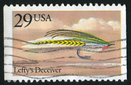 UNITED STATES - CIRCA 1991: stamp printed by United States of America, shows fishing fly Leftys Deceiver, circa 1991 photo