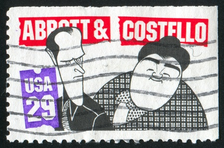abbot: UNITED STATES - CIRCA 1991: stamp printed by United States of America,  shows Bud Abbot and Lou Castello, circa 1991