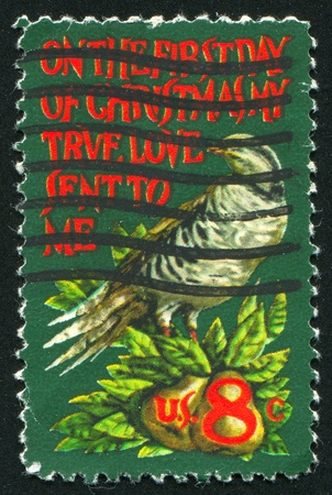 UNITED STATES - CIRCA 1971: stamp printed by United States of America, shows partridge in a pear tree, circa 1971 photo
