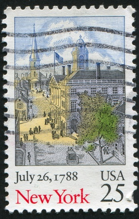 UNITED STATES - CIRCA 1988: stamp printed by United States of America, shows street in New York, circa 1988 photo