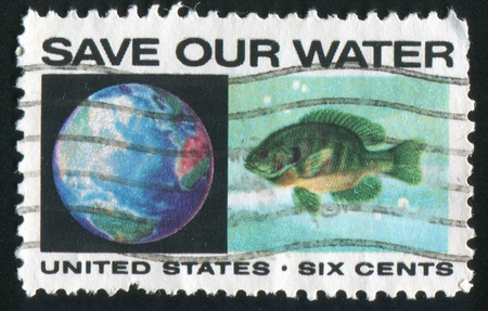 bluegill: UNITED STATES - CIRCA 1970: stamp printed by United States of America, shows globe and bluegill, circa 1970