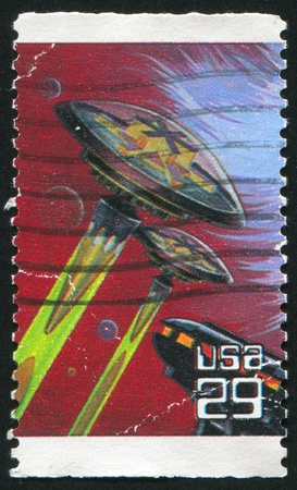 UNITED STATES - CIRCA 1993: stamp printed by United States of America, shows fantasy spacecrafts, circa 1993 Stock Photo - 11082846