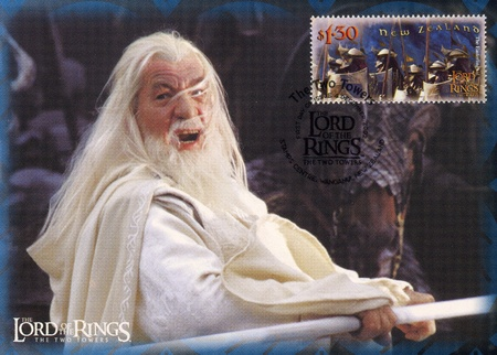 NEW ZEALAND - CIRCA 2002: stamp printed by New Zealand, shows Scenes from The Lord of the Rings, circa 2002 報道画像
