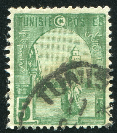kairouan: TUNISIA - CIRCA 1902: stamp printed by Tunisia, shows Mosque at Kairouan, circa 1902. Stock Photo
