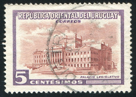 window seal: URUGUAY - CIRCA 1954: stamp printed by Uruguay, shows Legislature Building, circa 1954