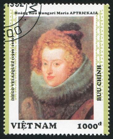 velazquez: VIET NAM - CIRCA 1992: stamp printed by Viet Nam, shows Portrait of Maria Aptrickaia, by Velazquez, circa 1992 Editorial