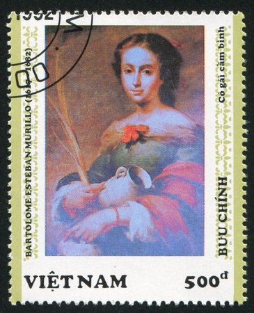 murillo: VIET NAM - CIRCA 1992: stamp printed by Viet Nam, shows Woman with a Jug, by Murillo, circa 1992 Editorial