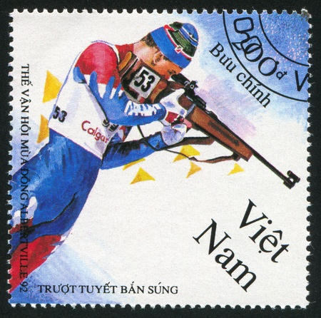 VIET NAM - CIRCA 1992: stamp printed by Viet Nam, shows Biathlon, circa 1992