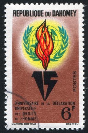 DAHOMEY CIRCA 1963: stamp printed by Dahomey, shows UN Emblem, Flame, circa 1963