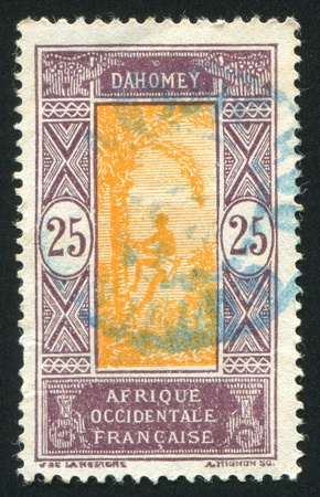 DAHOMEY CIRCA 1922: stamp printed by Dahomey, shows Man Climbing Oil Palm, circa 1922 photo