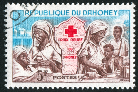 DAHOMEY CIRCA 1962: stamp printed by Dahomey, shows Red Cross Nurses, and Map, circa 1962
