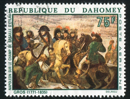 DAHOMEY CIRCA 1969: stamp printed by Dahomey, shows Napoleon on the Battlefield of Eylau, by Antoine Jean Gros, circa 1969