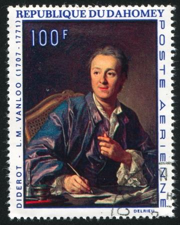 DAHOMEY CIRCA 1968: stamp printed by Dahomey, shows Diderot, by Louis Michel Vanloo, circa 1968
