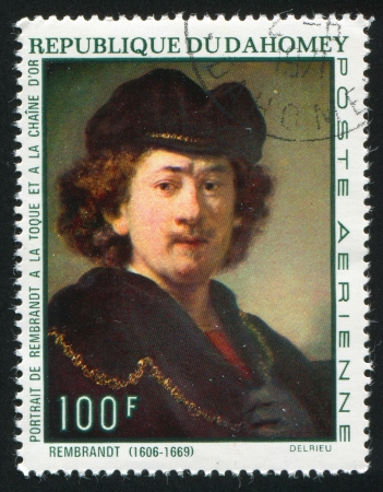 DAHOMEY CIRCA 1969: stamp printed by Dahomey, shows Self-portrait with Gold Chain, by Rembrandt, circa 1969 Stock Photo - 13669291