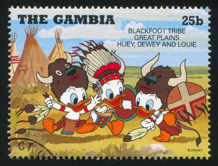 GAMBIA - CIRCA 1995: stamp printed by Gambia, shows Huey, Dewey, Louie, Blackfoot, circa 1995