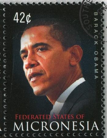 micronesia: 미크로네시아 - 2009 년경 : 미크로네시아에 의해 인쇄 된 우표, 2009 년경, 버락 후세인 오바마를 보여줍니다