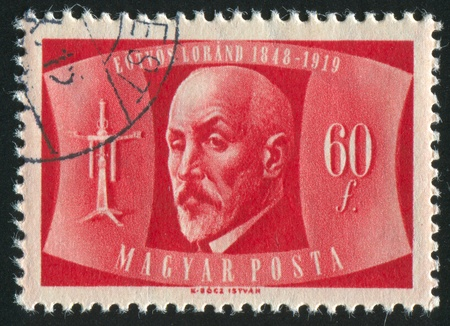 baron: HUNGARY - CIRCA 1948: stamp printed by Hungary, shows Baron Roland Eotvos, circa 1948