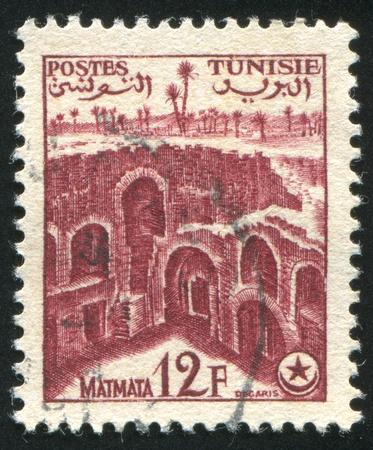 matmata: TUNISIA - CIRCA 1920: stamp printed by Tunisia, shows Ruins at Matmata, circa 1920.