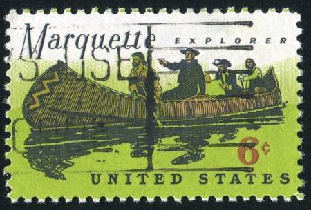 marquette: UNITED STATES - CIRCA 1968: stamp printed by United States, shows Father Marquette, Louis Jolliet and natives, circa 1968