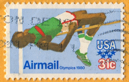 ligaments: UNITED STATES - CIRCA 1980: stamp printed by United States, shows High Jumper, circa 1980