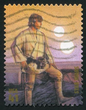 UNITED STATES - CIRCA 2007: stamp printed by United states, shows Star Wars, Luke Skywalker, circa 2007 Stock Photo - 11176175