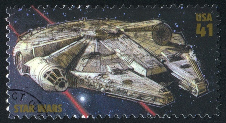 star wars: UNITED STATES - CIRCA 2007: stamp printed by United states, shows Star Wars, Millennium Falcon, circa 2007 Editorial