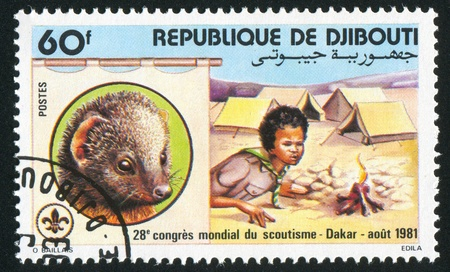 tending: DJIBOUTI CIRCA 1981: stamp printed by Djibouti, shows Scout Tending Campfire, circa 1981