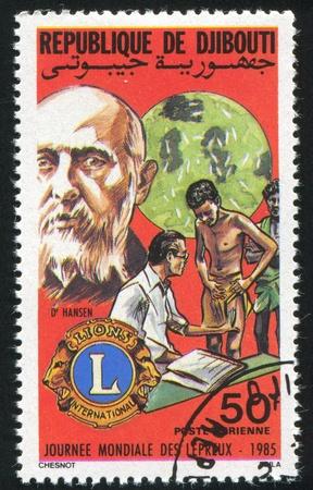 lepra: YIBUTI alrededor de 1985: sello impreso por Yibuti, muestra los Leones, el Día Mundial de la Lepra, alrededor de 1985