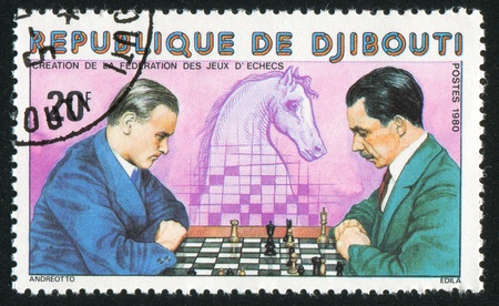 DJIBOUTI CIRCA 1980: stamp printed by Djibouti, shows Chess Players, Knight, circa 1980