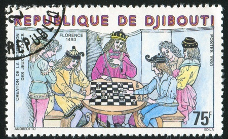 DJIBOUTI CIRCA 1970: stamp printed by Djibouti, shows Chess Game, Florence, circa 1970 photo