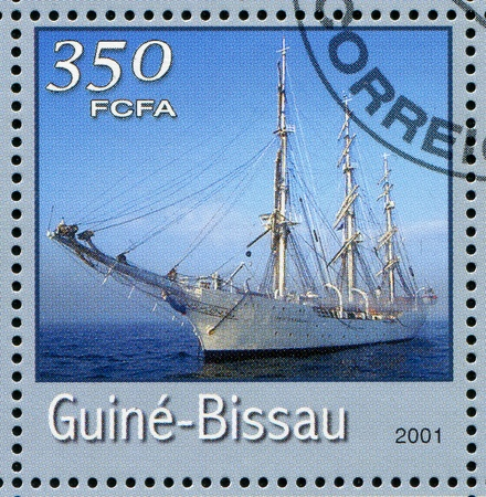 guinea bissau: GUINEA-BISSAU - CIRCA 2001: stamp printed by Guinea - Bissau, shows sailing ship, circa 2001. Stock Photo