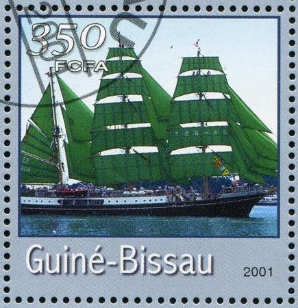 ketch: GUINEA-BISSAU - CIRCA 2001: stamp printed by Guinea - Bissau, shows sailing ship, circa 2001. Stock Photo