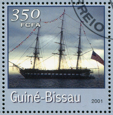 GUINEA-BISSAU - CIRCA 2001: stamp printed by Guinea - Bissau, shows sailing ship, circa 2001. photo