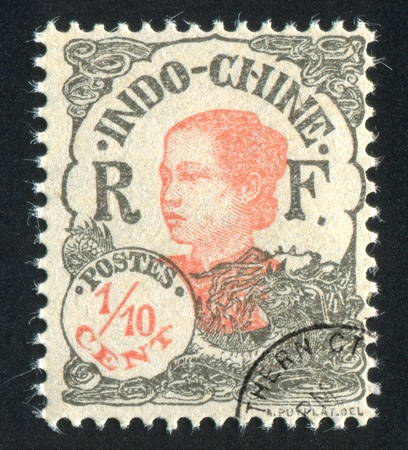 indo china: INDO-CHINA - CIRCA 1907: stamp printed by Indo-china, shows Annamite Girl, circa 1907